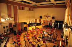 Abbey Road Studios, London. Studio 2 of Abbey Road Studios overview: Orchestral set-up stock image