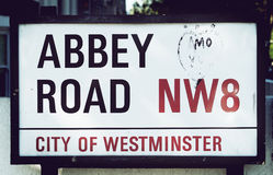 Abbey Road tecken Royaltyfri Bild