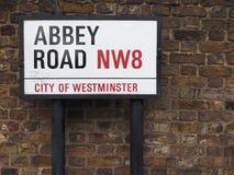 Abbey Road unterzeichnen herein London Lizenzfreies Stockfoto