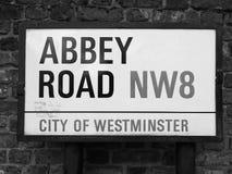 Abbey Road unterzeichnen herein Schwarzweiss London Lizenzfreie Stockfotografie