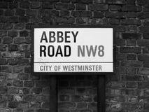 Abbey Road unterzeichnen herein Schwarzweiss London Stockfotografie