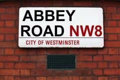 Abbey Road-Zeichen an den Tonstudios Lizenzfreie Stockfotos