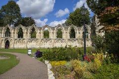 Abbey Ruins de St Mary en York Imagen de archivo
