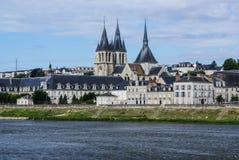Abbey Saint-Laumer en Blois. Castillo francés del valle del Loira. Francia Foto de archivo