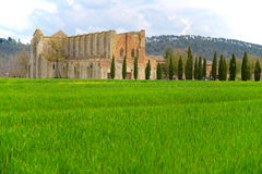 Abbey of San Galgano, reduced only to the walls, located about thirty kilometers from Siena. Known for having the roof missing. Royalty Free Stock Photos