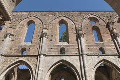Abbey of San Galgano, Tuscany. The Abbey of San Galgano was founded by Cistercian monks. Dedicated to St. Galganus (d.1181), a hermit who lived on the hill Stock Image