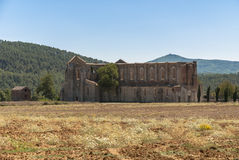 Abbey of San Galgano, Tuscany. The Abbey of San Galgano was founded by Cistercian monks. Dedicated to St. Galganus (d.1181), a hermit who lived on the hill stock photo