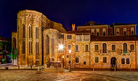 Abbey of San Gregorio in Venice at night Royalty Free Stock Images