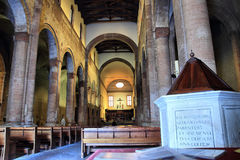 Abbey of San Mercuriale, Forli. FORLI, ITALY - MARCH 16, 2014:  interior of the romanesque Abbey of San Mercuriale located in Saffi square Stock Images