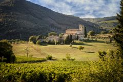 Abbey of Sant`Antimo in Montalcino, Tuscany, Italy. The abbey of Sant`Antimo is a monastic complex in Olivetano located near Castelnuovo dell`Abate, within the Royalty Free Stock Photos