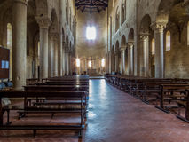 Abbey of Sant'Antimo, Montalcino, Interior. View of the interior of the Abbey of Sant'Antimo (Italian: Abbazia di Sant'Antimo) in the Royalty Free Stock Images
