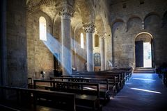 Abbey of Sant`Antimo in Montalcino, Tuscany, Italy. The abbey of Sant`Antimo is a monastic complex in Olivetano located near Castelnuovo dell`Abate, within the Stock Images