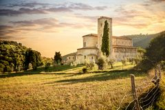 Abbey of Sant`Antimo in Montalcino, Tuscany, Italy. The abbey of Sant`Antimo is a monastic complex in Olivetano located near Castelnuovo dell`Abate, within the Royalty Free Stock Photo