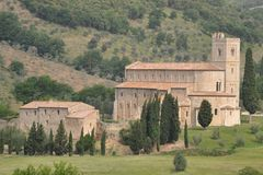 Abbey Sant'Antimo, Tuscany Stock Photo