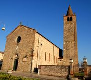 Abbey of Santo Stefano in sunlit Two carrare in the province of Padua in Veneto (Italy) Stock Image