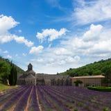 Abbey Senanque och lavendelfält, Frankrike Arkivfoto
