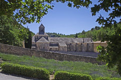 Abbey of Senanque,Provence,France. A view of ancient abbey with a field of lavender Stock Photography