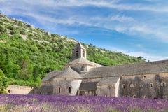 Abbey Senanque- und Lavendelfeld, Frankreich Stockfotos