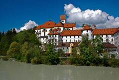 Abbey St. Manga and Hohes Schloss Stock Image