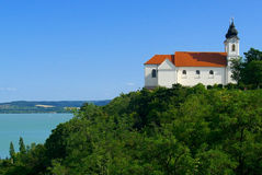Abbey in Tihany with lake Balaton stock image