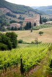 Abbey and vineyards, Tuscany, Italy Stock Photos