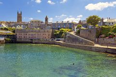 Abbey Warehouse in Penzance harbour, Cornwall, England Stock Photo