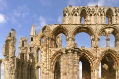 Abbey of whitby and blue sky, yorkshire, england Stock Photos