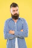 Abbia alcuni dubbi Uomo barbuto premuroso sulla fine gialla del fondo su Espressione premurosa Necessit? di pensare Premuroso immagini stock