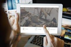 Abbia sito Web del bottone del registro della discussione fotografia stock