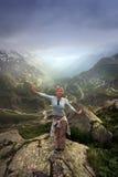 Abbia un divertimento in alpi svizzere Fotografia Stock