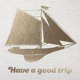 Abbia una buona carta della stagnola di oro di viaggio Fotografie Stock