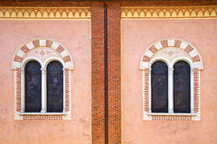 Abbiate varese rose window church  wall terrace church  tower Royalty Free Stock Photo