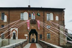 Preparations under way in Abbiategrasso to welcome cyclists competing in the 2018 Giro d`Italia. On May 24th stage 18. Abbiategrasso, Italy - May 14th, 2018 Royalty Free Stock Photo