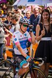 Abbiategrasso, Italy May 24, 2018: The White jersey Miguel Angel Lopez, in first line, before the start of a hard montain stage. Of the Tour of Italy 2018 with royalty free stock images