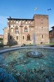 Abbiategrasso (Milan, Italy). Abbiategrasso (Milan, Lombardy, Italy) - The castle and fountain Royalty Free Stock Photo
