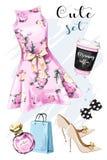 Abbigliamento alla moda ed accessori disegnati a mano messi royalty illustrazione gratis