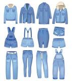 Abbigliamento blu-chiaro del denim I jeans, rivestimento, mettono, camici e gonna Insieme strappato dei jeans Illustrazione del d illustrazione di stock