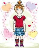 Abbigliamento casual d'uso ed interim della bella piccola ragazza della testarossa illustrazione vettoriale