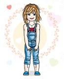 Abbigliamento casual d'uso ed interim della bella piccola ragazza della testarossa royalty illustrazione gratis