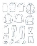 Abbigliamento casual degli uomini del profilo per addestramento di forma fisica Indumenti di base per l'allenamento della palestr illustrazione di stock