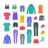 Abbigliamento casual delle donne per addestramento di forma fisica della palestra illustrazione di stock