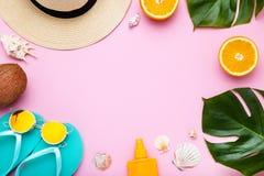 Abbigliamento con le conchiglie, le foglie verdi ed i frutti immagine stock