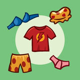 Abbigliamento disegnato, elementi del gioco, interfaccia Immagini Stock