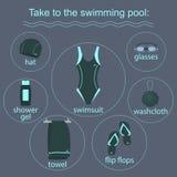 Abbigliamento ed accessori per le piscine Fotografia Stock Libera da Diritti