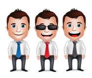 abbigliamento lungo di affari della manica di Cartoon Character Wearing dell'uomo d'affari realistico 3D Immagini Stock