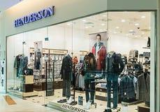 Abbigliamento maschile di Henderson Store nel centro commerciale della metropoli Fotografie Stock