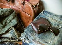 Abbigliamento per gli uomini - annata di tono Fotografie Stock