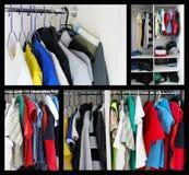 Abbigliamento sui ganci collage fotografia stock libera da diritti