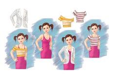 Abbigliamento sveglio dell'abbigliamento e della ragazza, usura di ogni giorno della ragazza, usura di stagione, modo, ilustratio illustrazione vettoriale