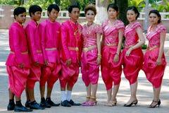 abbigliamento tradizionale di khmer di nozze immagine stock